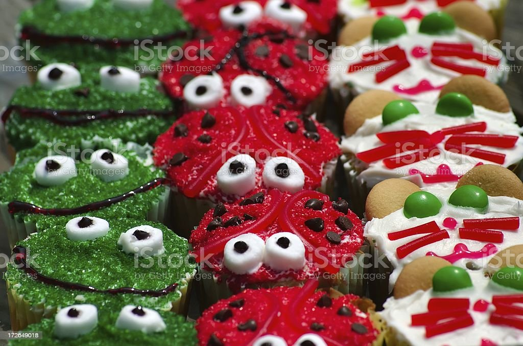 Cupcakes with Cute Critter Decorations royalty-free stock photo