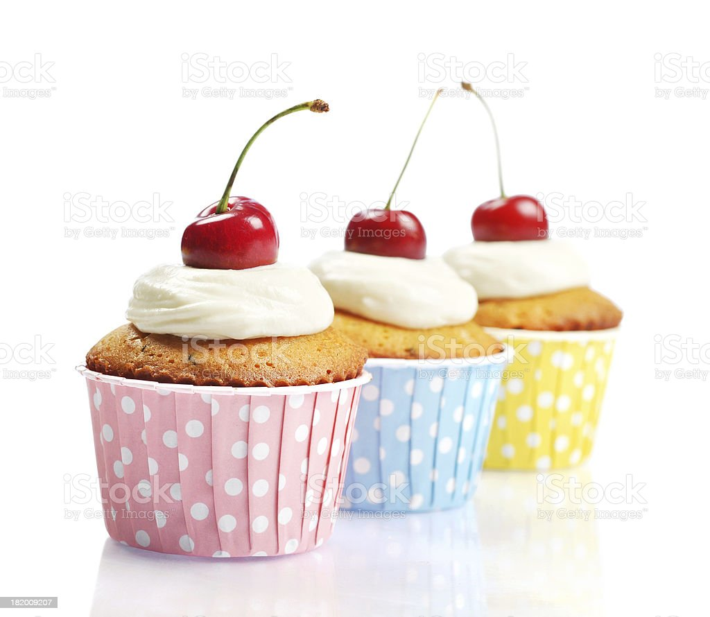 Cupcakes  with fresh cherry royalty-free stock photo