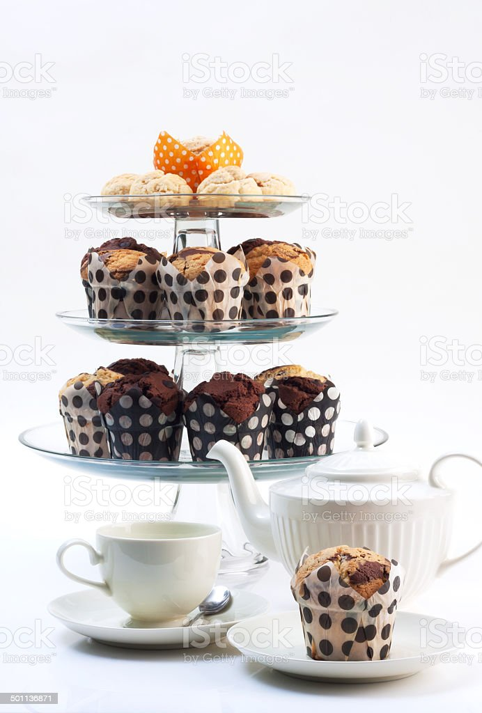 cupcakes with tea stock photo