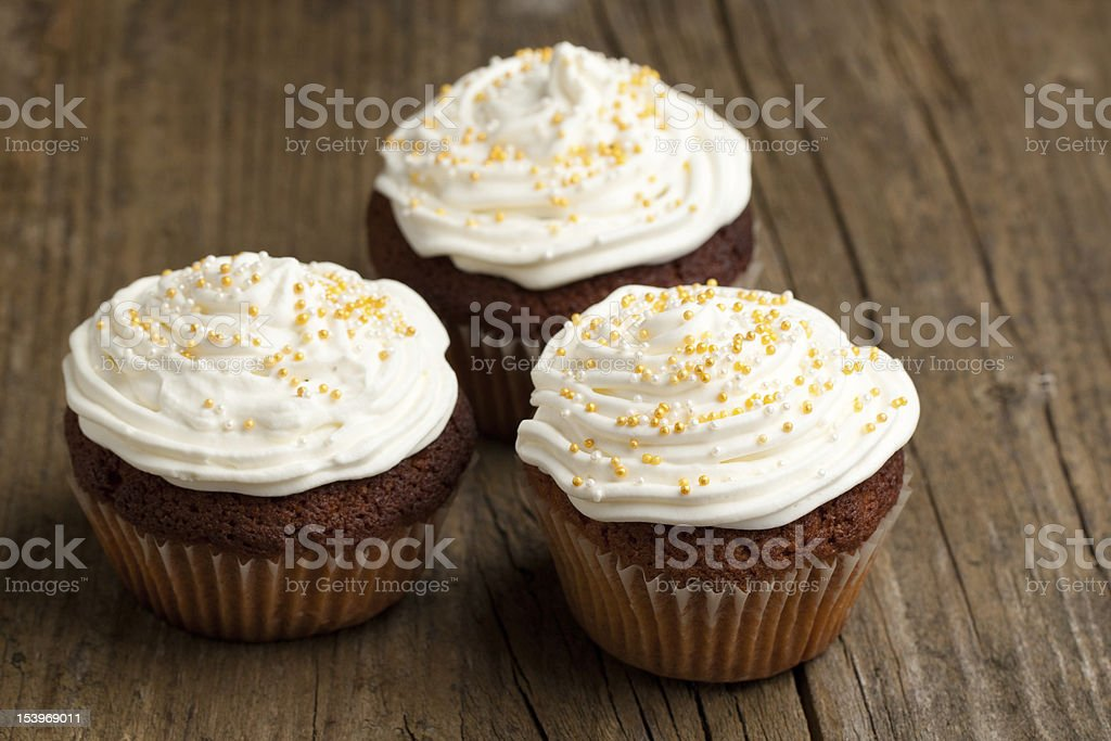 Cupcakes with whipped cream royalty-free stock photo