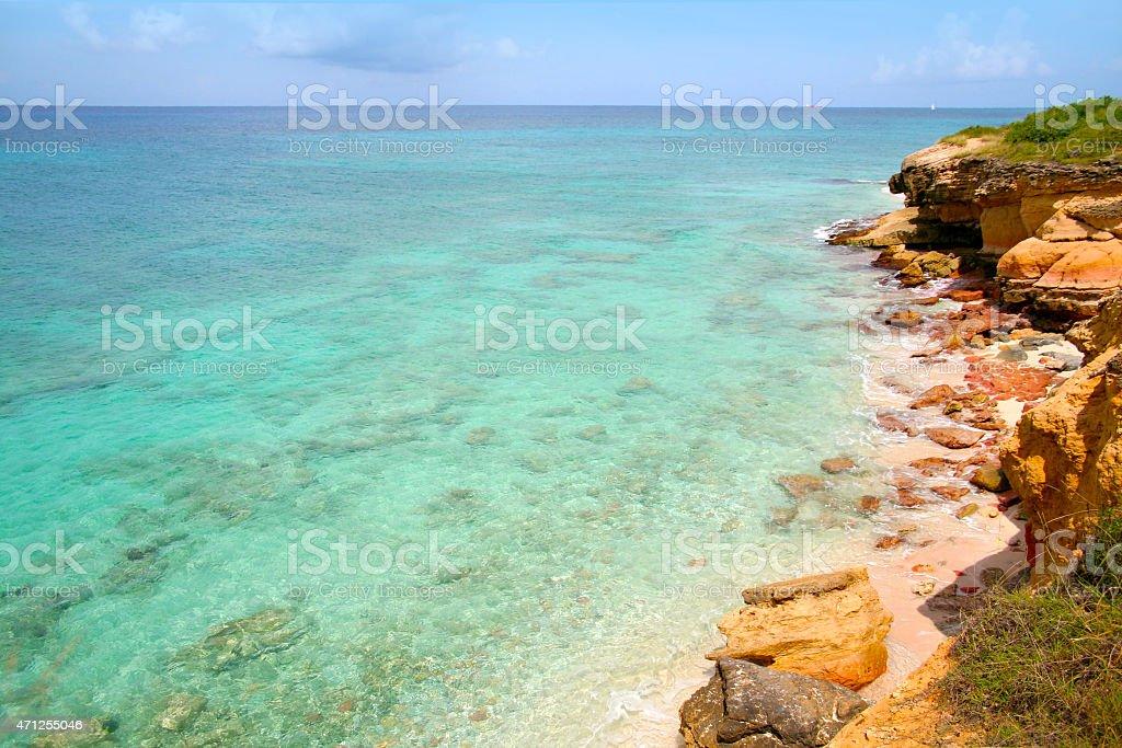 Cupecoy Beach on Sint Maarten/St Martin stock photo