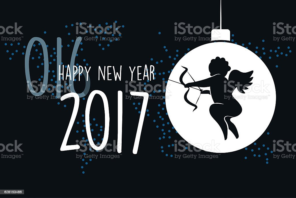 cupid line symbol with 2017 text on black dotted background stock photo