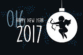 cupid line symbol with 2017 text on black dotted background