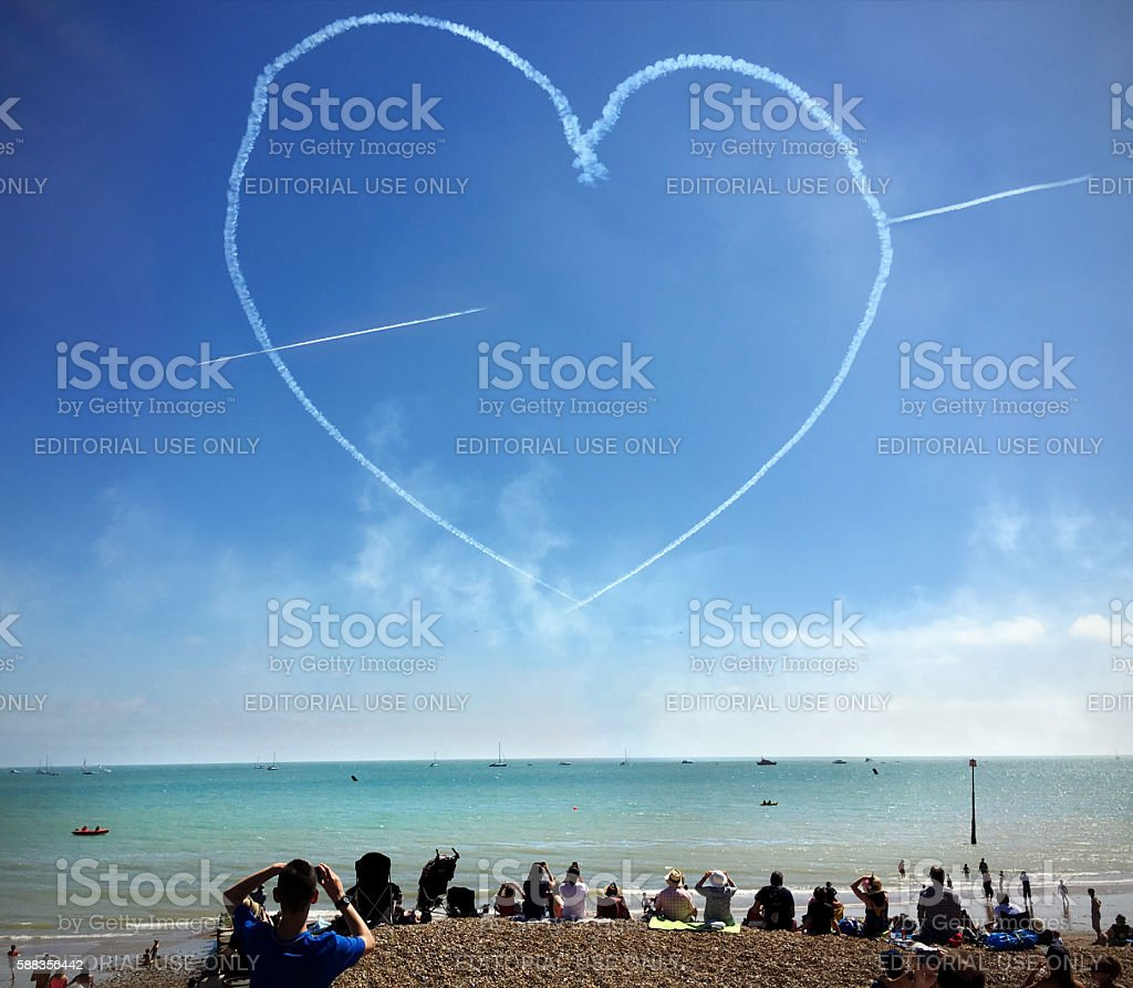 Cupid's Arrow skywriting stock photo