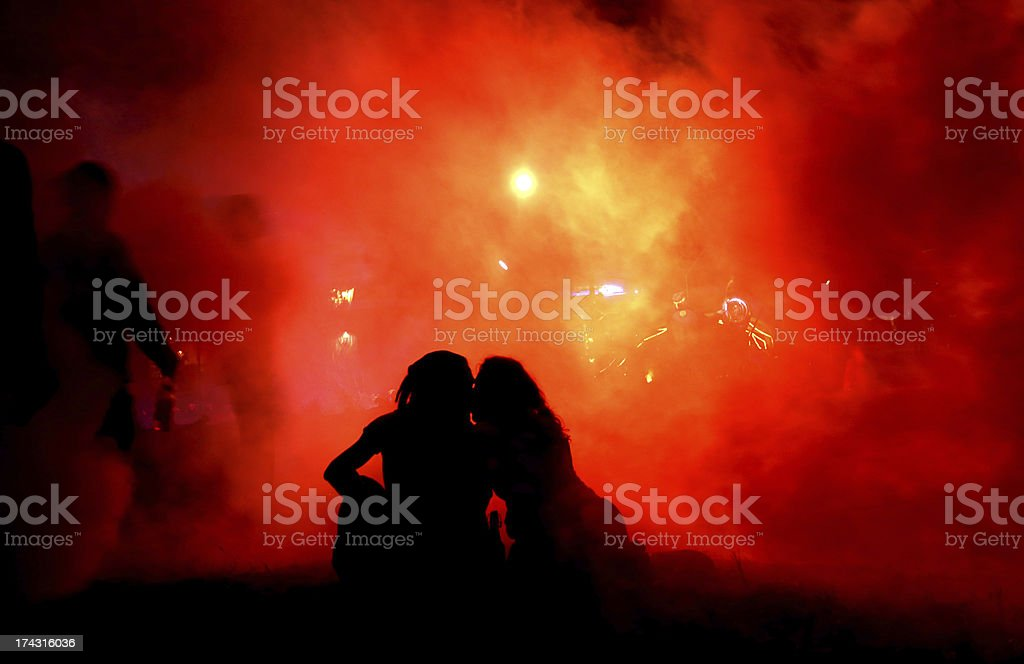 cuple kissing in the fog royalty-free stock photo