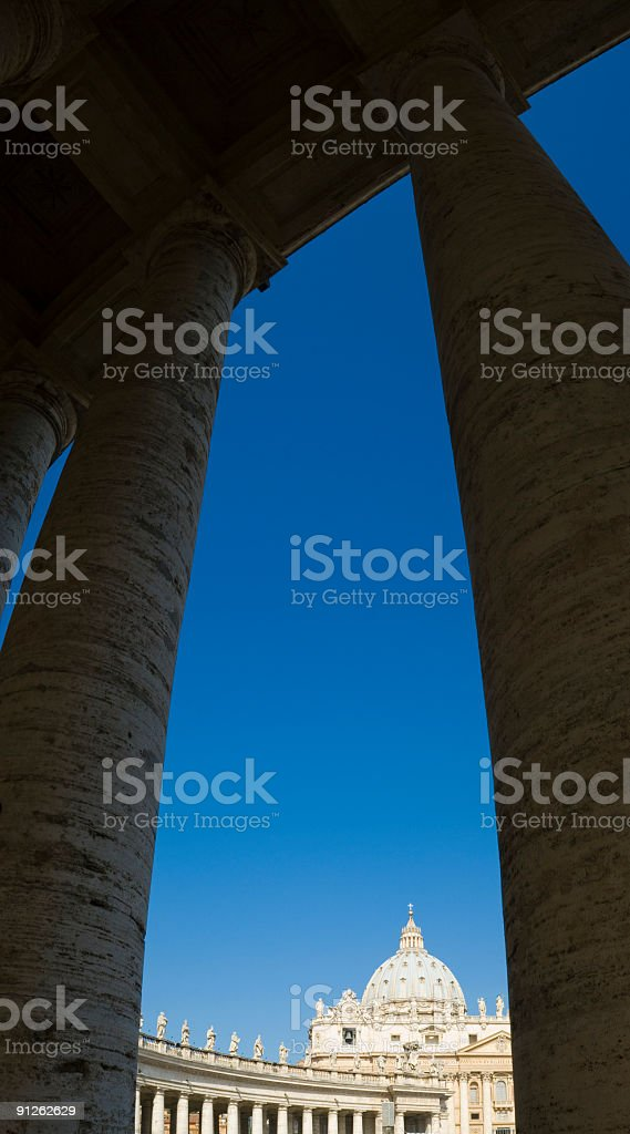 Cupola and colonnade, Vatican, Rome royalty-free stock photo