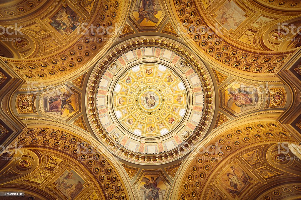 Cupola of St. Stephen's Basilica stock photo