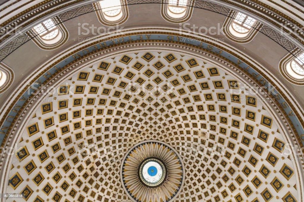 Cupola of the main church in Mosta, Malta, 2014 stock photo