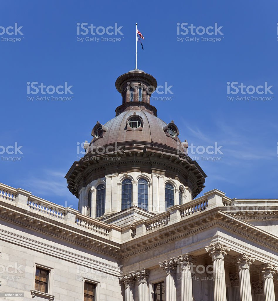 Cupola, State House, Columbia, South Carolina, With Blue Sky royalty-free stock photo