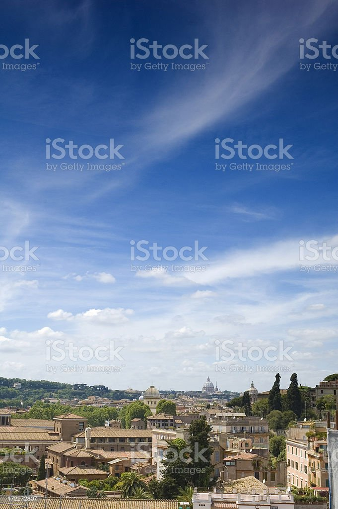 Cupolas and cloudscape, Rome royalty-free stock photo