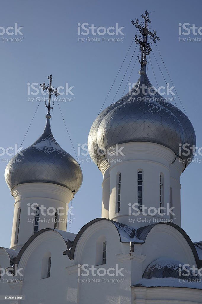 Cupolas and crosses of Sophia cathedral, Vologda, Russia royalty-free stock photo