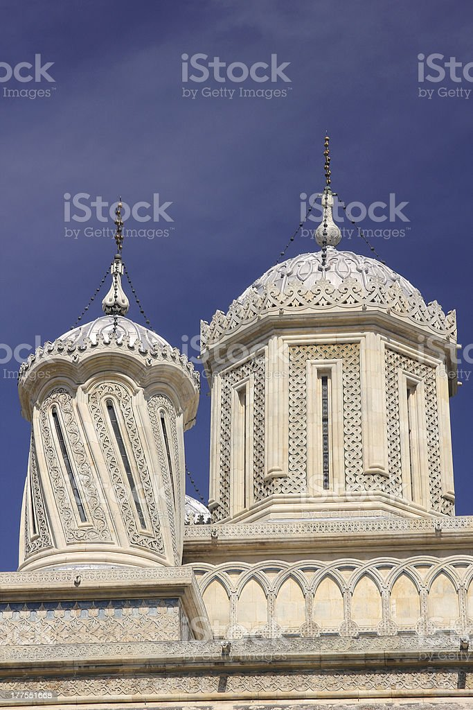 Cupolas and domes from the Curtea de Arges Cathedral, Romania stock photo