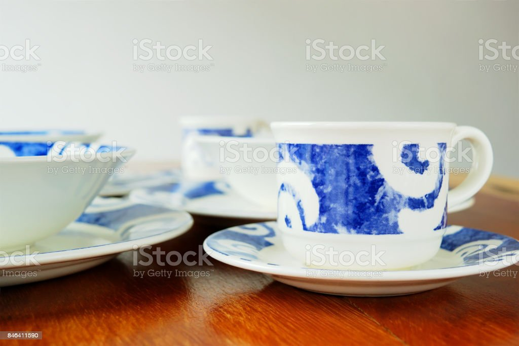 Cups and plates stock photo