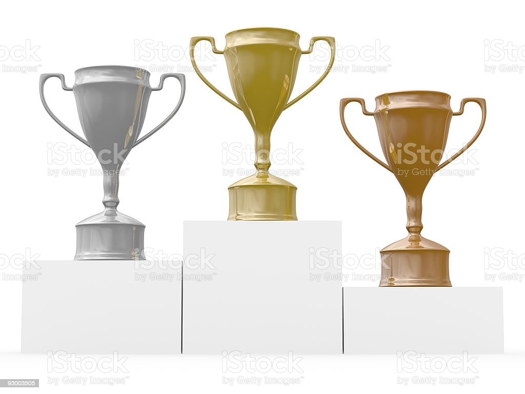 Cups for winners of competitions. Isolated 3D  image stock photo