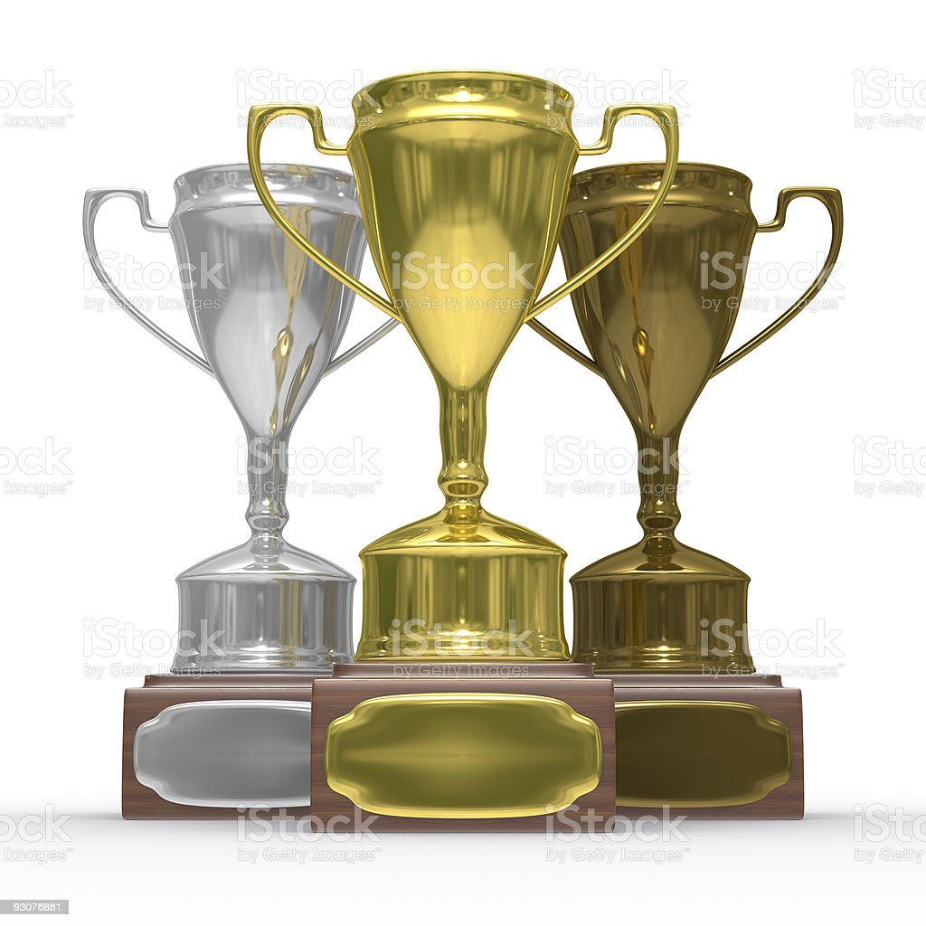cups of winner on white background. Isolated 3D  image royalty-free stock photo
