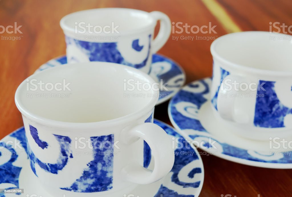 Cups on table stock photo