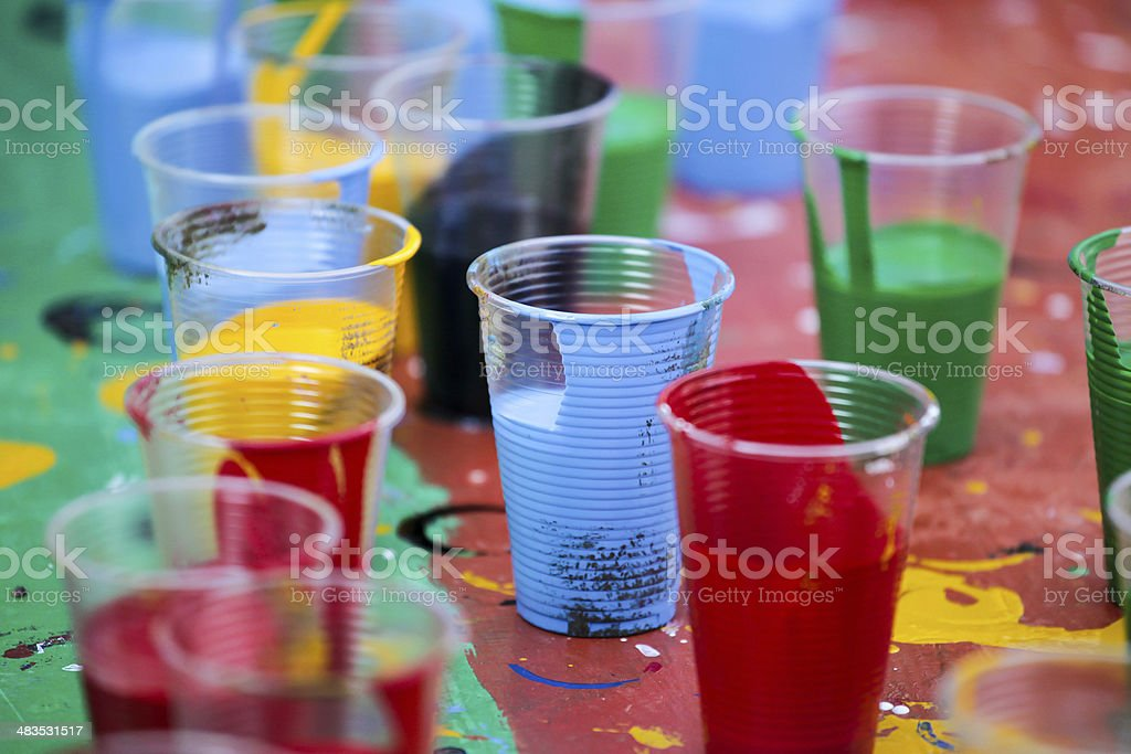 cups with paint stock photo