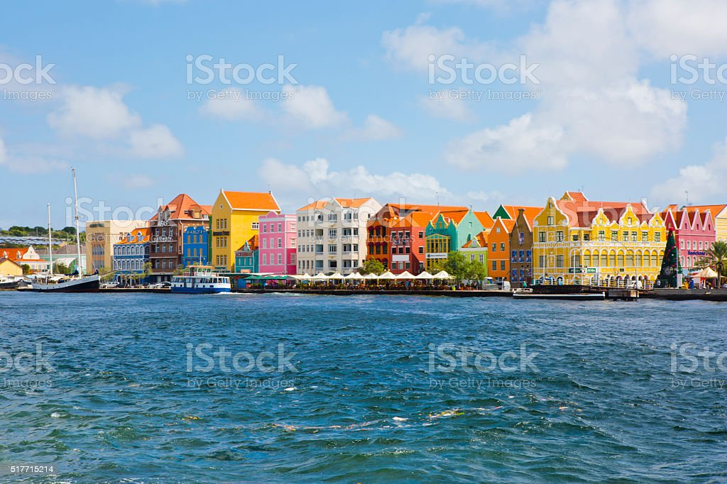 Curacao colorful houses stock photo