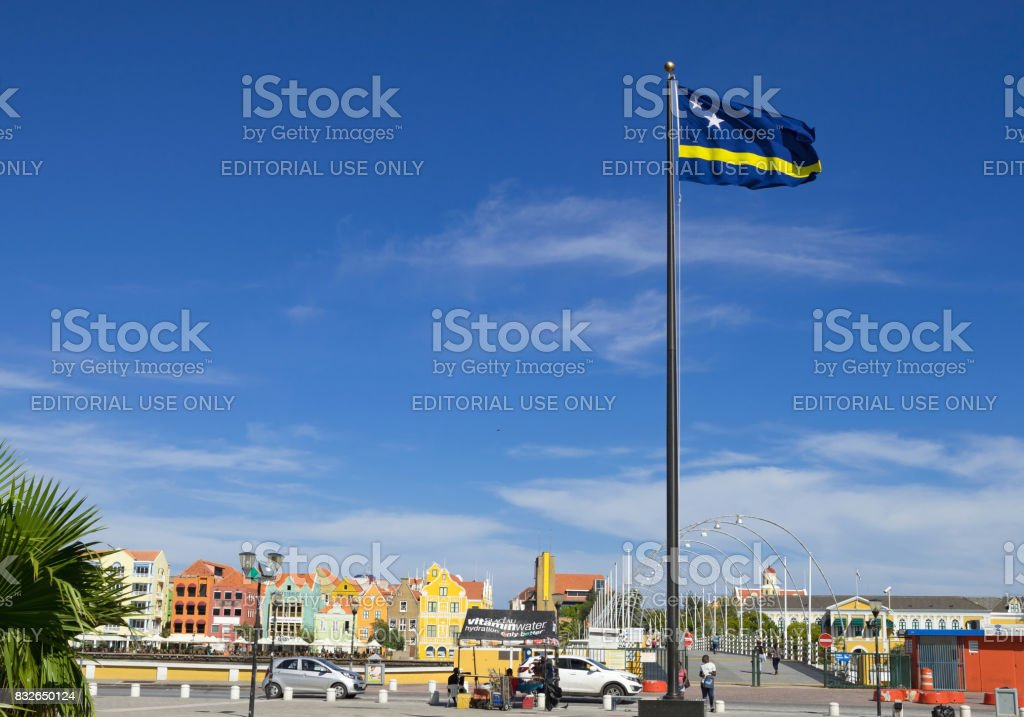 Curacao flag hanging high over the brionplein in Willemstad stock photo