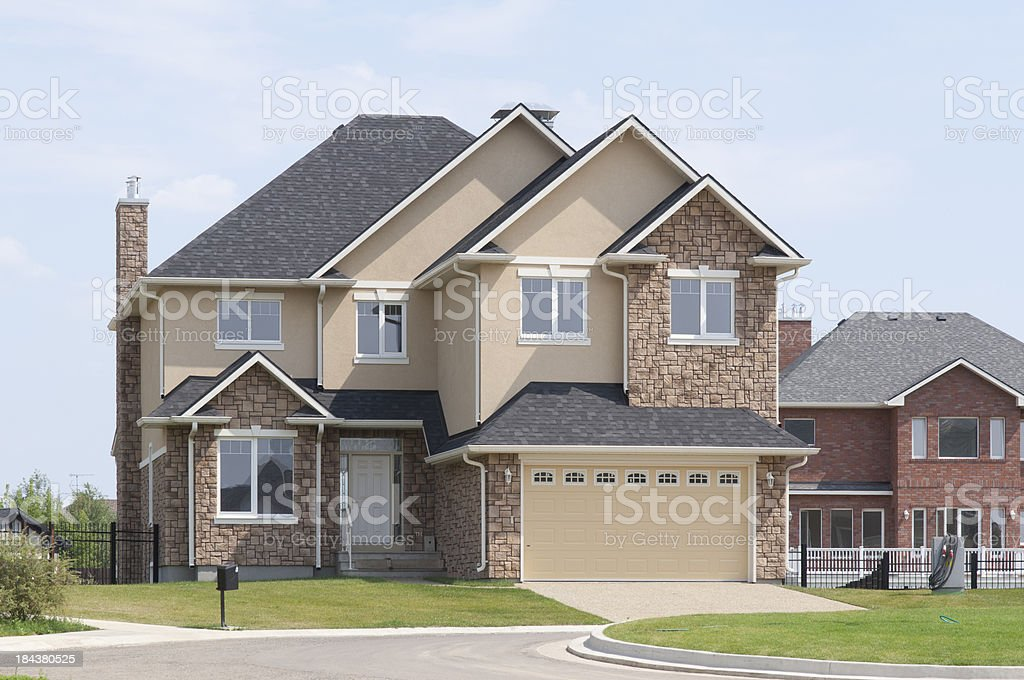 Curb appeal of a brand new suburban house stock photo