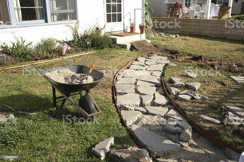 Curb Appeal: Stone Sidewalk DIY stock photo