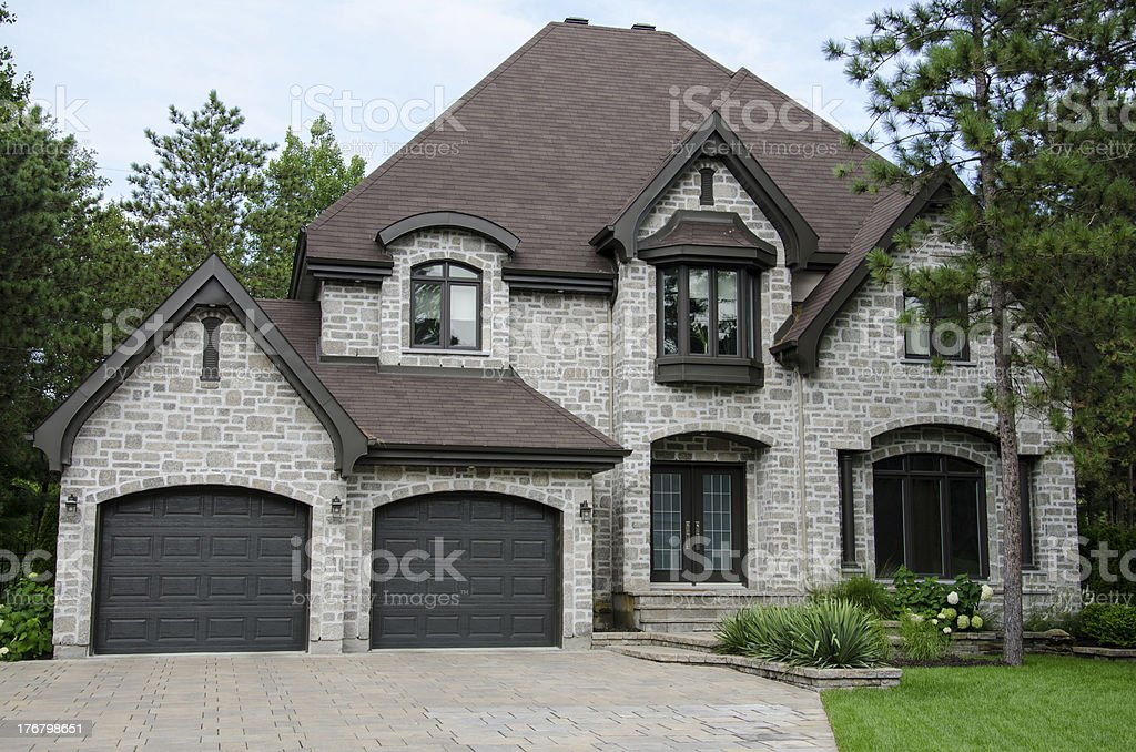 Curb view of a dream luxury mansion royalty-free stock photo