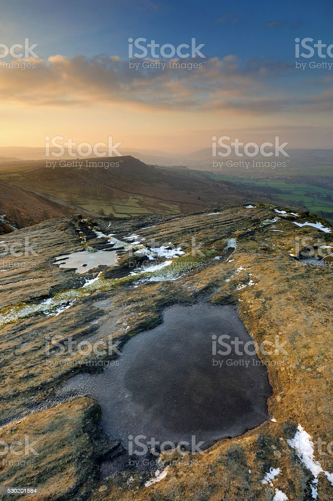 Curbar Edge Sunrise, Peak District National Park, England, UK stock photo
