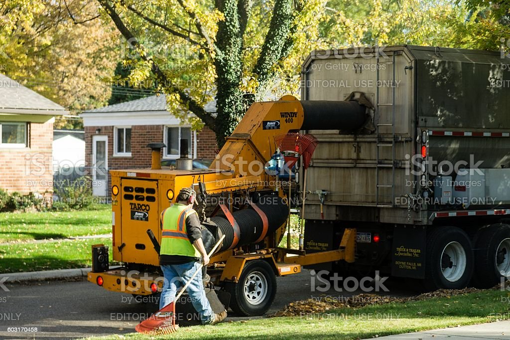 Curbside Leaves Recycling in Autumn stock photo