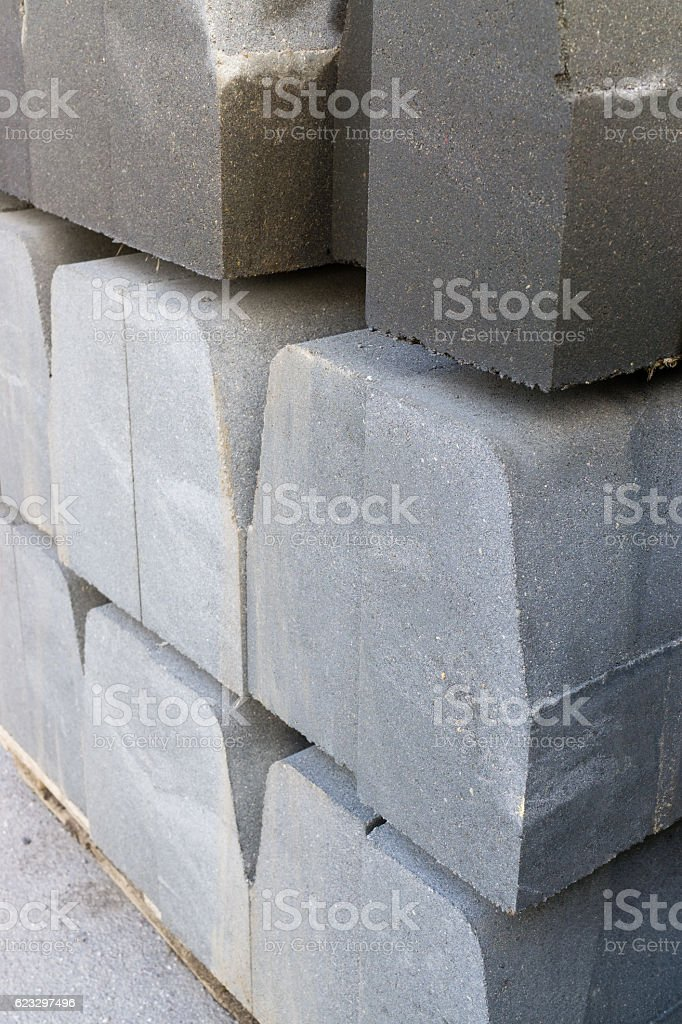 Curbstone on pallet stock photo