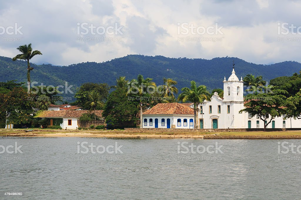 Curch in Paraty, state Rio de Janeiro, Brazil stock photo