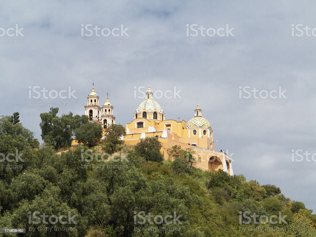 Curch on top of aztec pyramid in Cholula, Mexico royalty-free stock photo