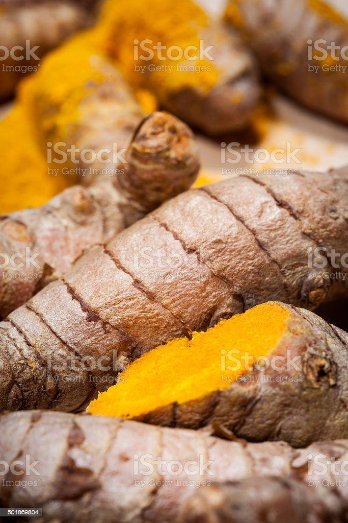 Curcuma rhizomes alternative medicine stock photo