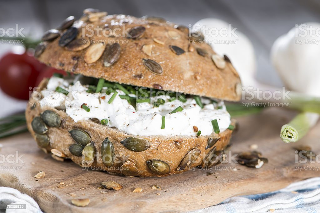 Curd and Herbs on a roll royalty-free stock photo