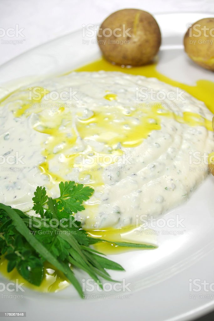 Curd Cheese with Herbs stock photo