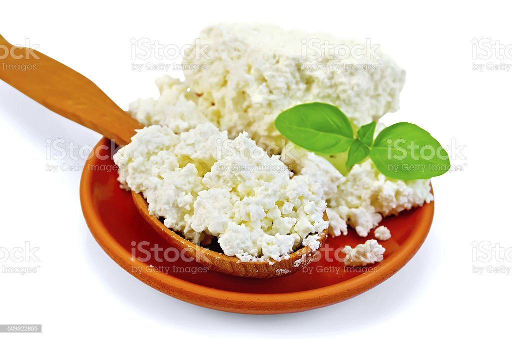 Curd in a wooden spoon and a clay plate stock photo