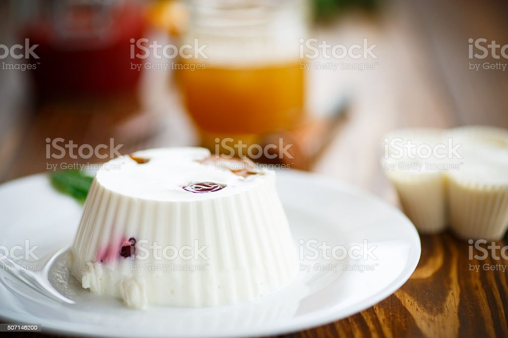 curd jelly with fruit filling stock photo