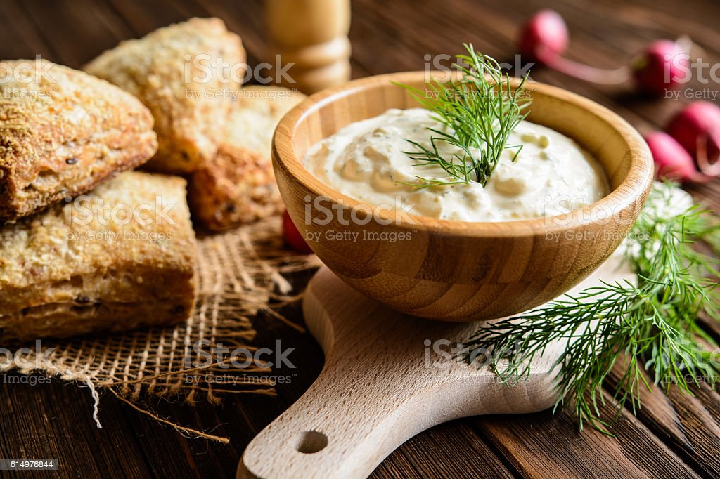 Curd spread with egg, onion, mustard and dill stock photo