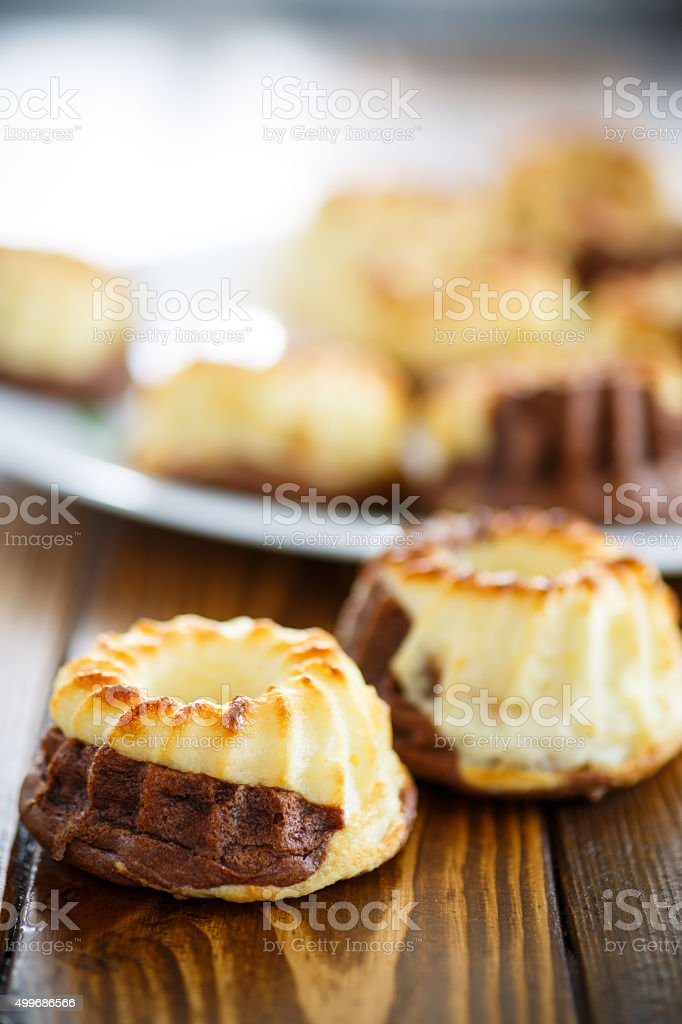 curd sweet chocolate muffins stock photo