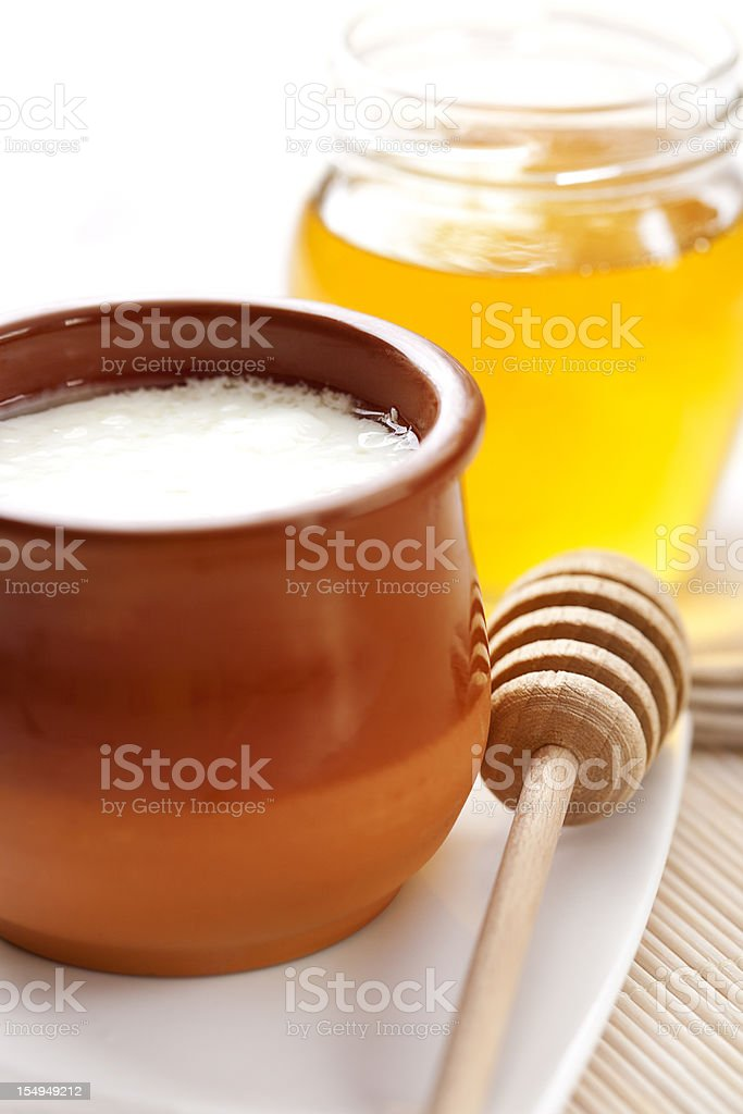Curds and honey royalty-free stock photo