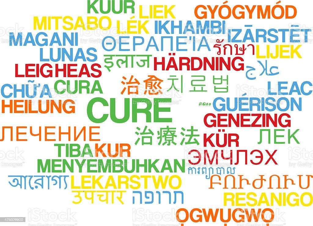 Cure multilanguage wordcloud background concept stock photo