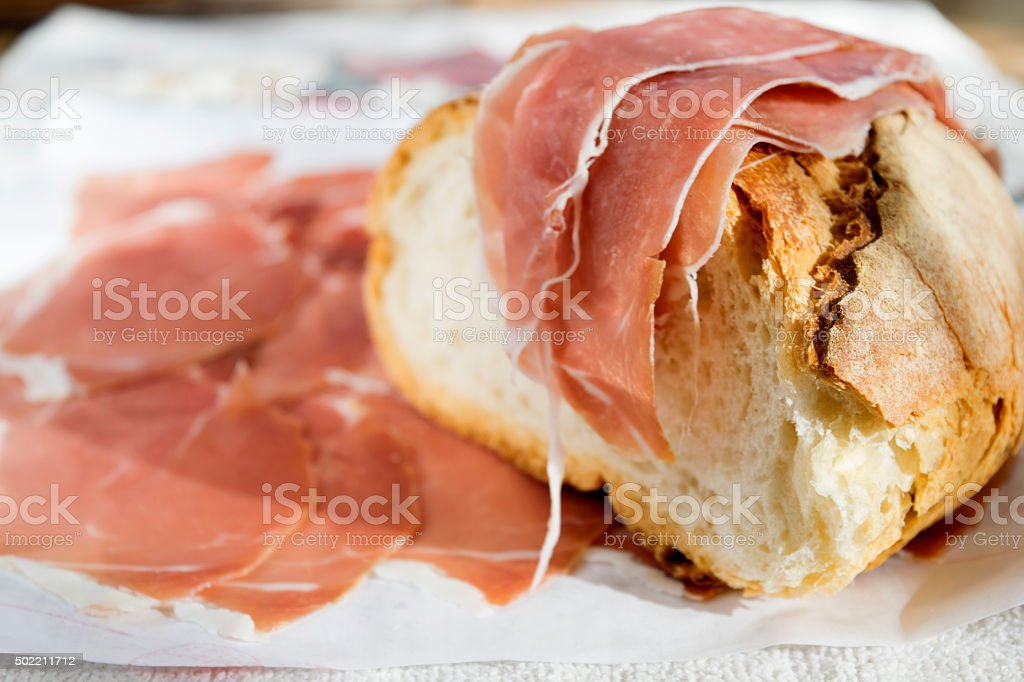 cured ham and bread stock photo