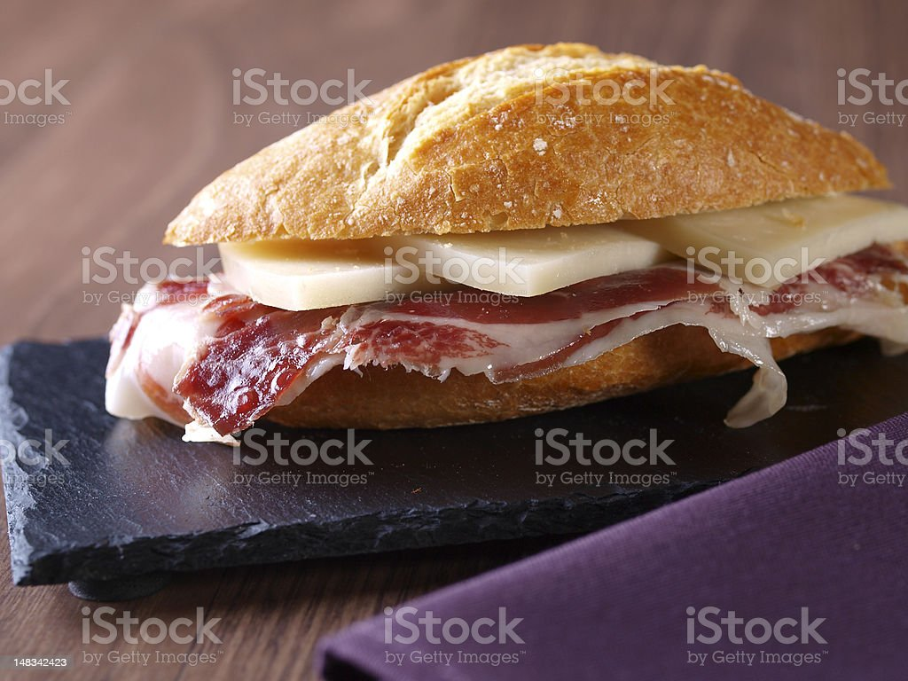 Cured ham and cheese sandwich. royalty-free stock photo