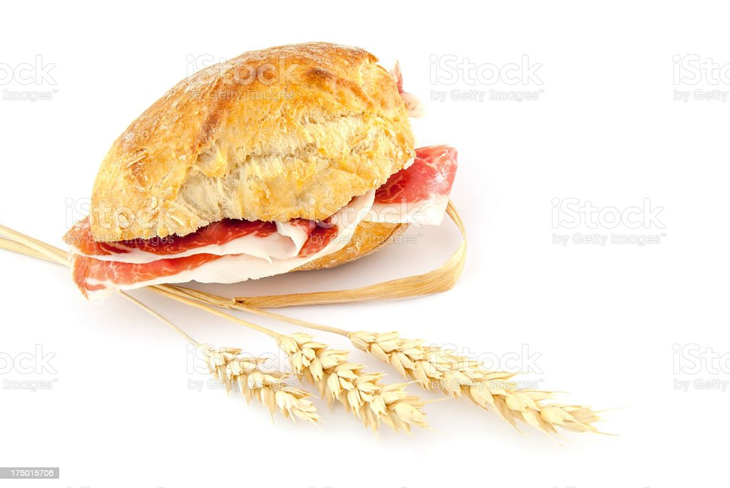 Cured ham  sandwich royalty-free stock photo