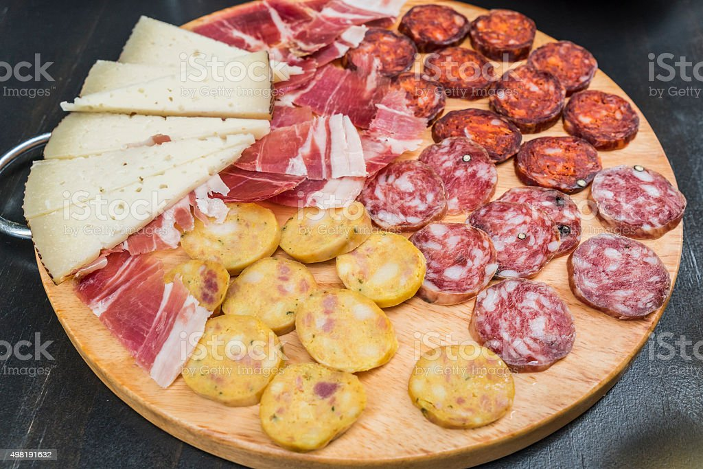 Cured ham, sausage and cheese tapa stock photo