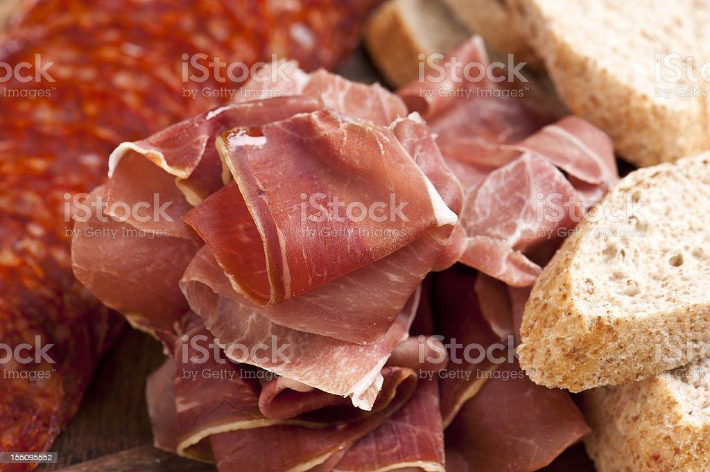 Cured Ham Slices stock photo