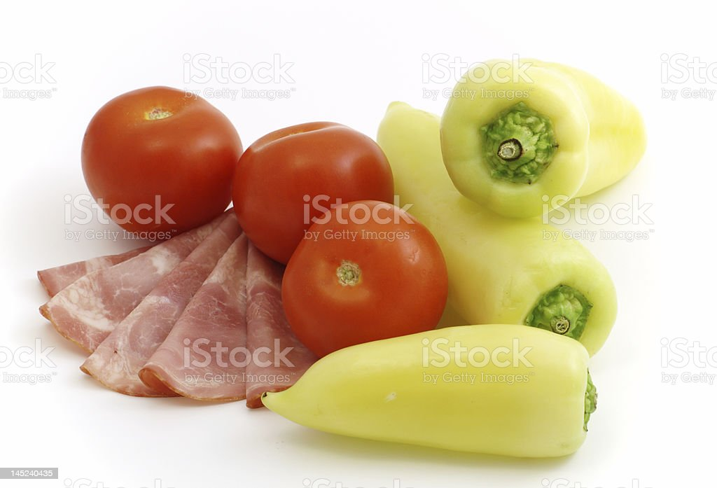 cured meat with vegetables stock photo