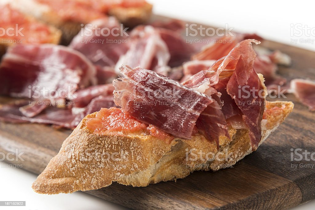 Cured Serrano Ham Canapes royalty-free stock photo