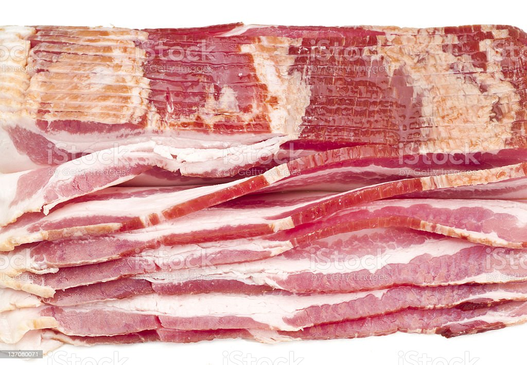Cured, smoked Raw Bacon Slices stock photo