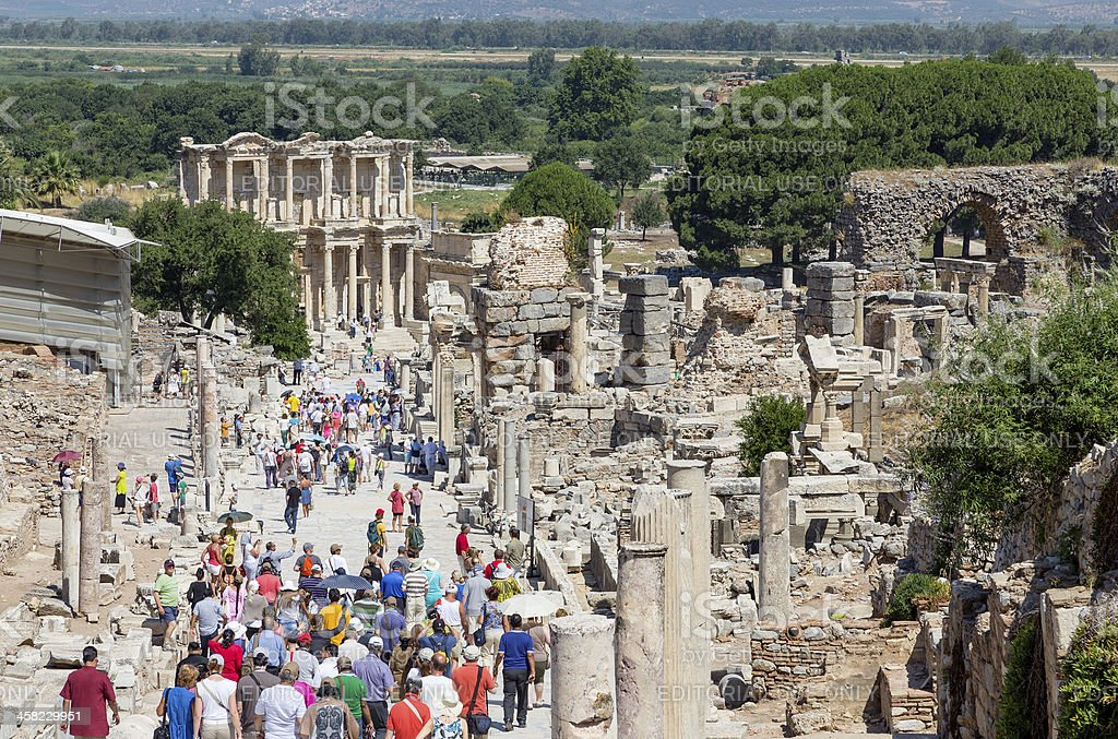 Curetes street and Celsus library, Ephesus, Turkey royalty-free stock photo