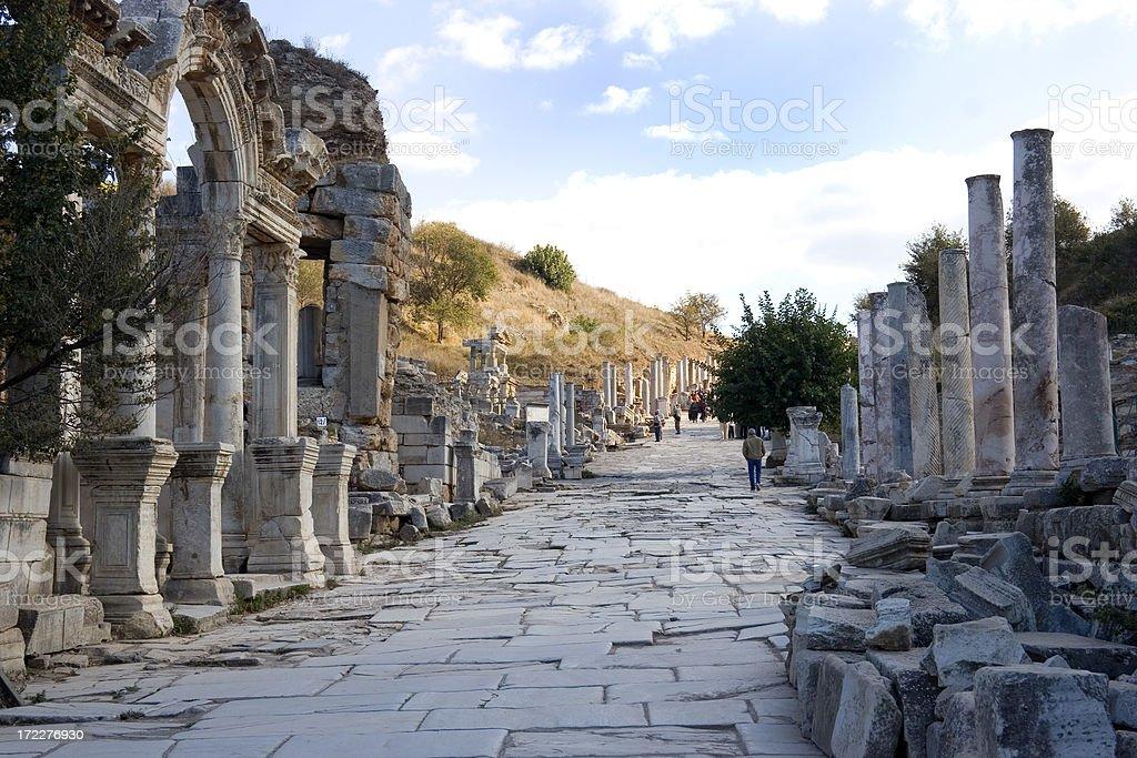 Curetes Street, Ephesus, Turkey royalty-free stock photo